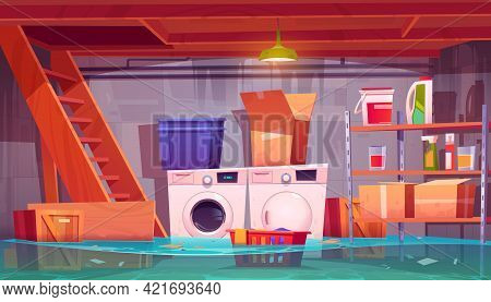 Flooded Laundry In Basement, Water Leakage In Home Cellar Interior With Washing And Dryer Machines,