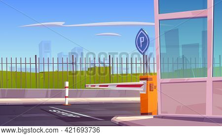 Parking Security Entrance With Automatic Car Barrier, Guardian Booth, Stop Line And Road Sign. City