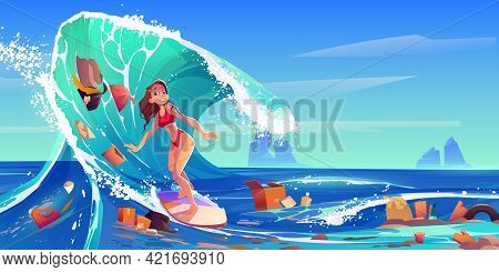 Pollution Sea By Plastic Trash And Garbage. Surfer Girl Swim In Dirty Water. Vector Cartoon Landscap