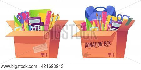 School Stationery In Cardboard Box. Volunteering Donate, Charity Aid For Poor. Education Supplies Fo