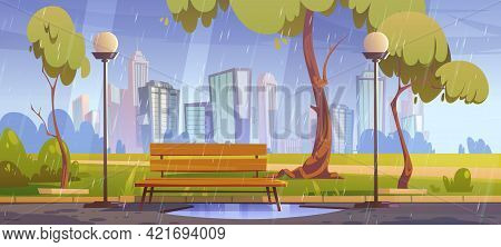City Park With Bench At Rainy Weather, Summer Or Spring Rain Scenery Cityscape Background, Empty Pub
