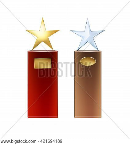 Vector Golden, Glass Star Trophies With Big Red, Brown Base And Golden Signboards For Copyspace Fron