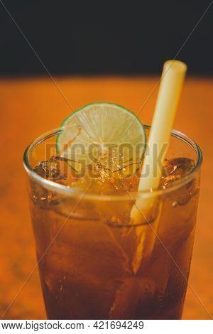 Refreshing Glass Of Iced Tea With Slice Lemon. A Nice Refreshing Glass Of Ice Tea
