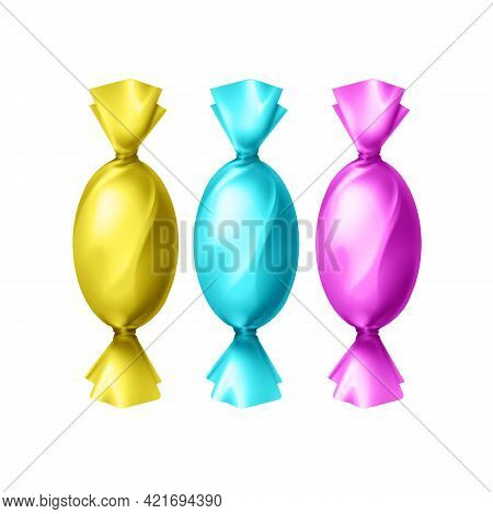 Vector Candies In Blank Colorful Yellow, Cyan, Magenta Foil Wrapper Top View Isolated On White Backg