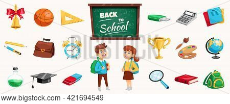Back To School Supplies Icons Set Poster With Schoolchildren Chalkboard Stationary Calculator Terres