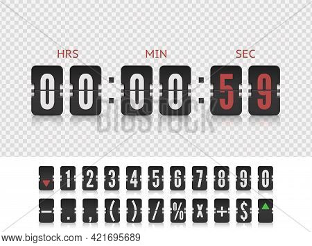 Scoreboard Number Font. Vector Illustration Template. Vector Coming Soon Web Page Design Template Wi