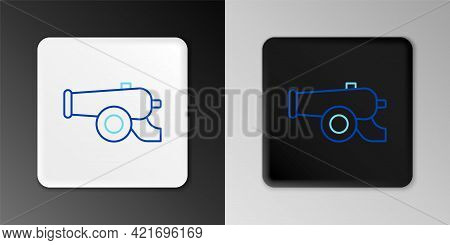 Line Ramadan Cannon Icon Isolated On Grey Background. Colorful Outline Concept. Vector