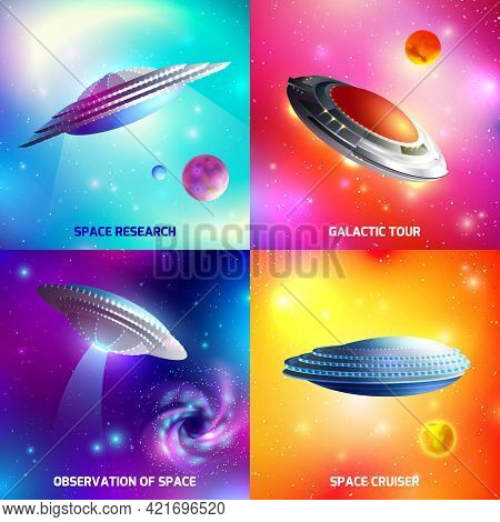Design Concept With Alien Spaceship During Space Research, Galactic Tour, As Cosmic Cruiser Isolated