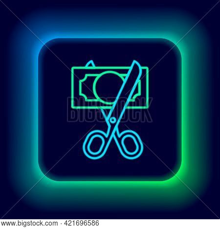 Glowing Neon Line Scissors Cutting Money Icon Isolated On Black Background. Price, Cost Reduction Or