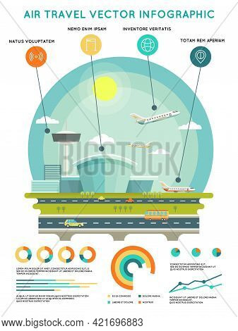 Air Travel Vector Infographic Template With Airport And Aircrafts. Transport And Travel, Transportat