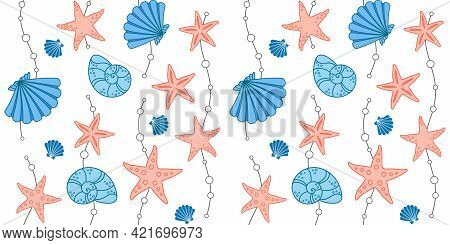 Decorative Blue Seashells, Pink Starfish And Waves With Beads On A White Background. Marine Endless