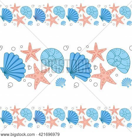 Marine Seamless Border Of Blue And Red Seashells And Starfish Isolated On A White Background. Vector