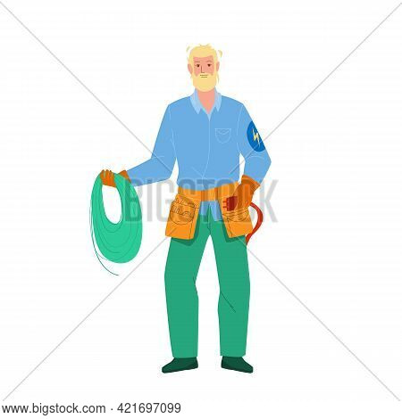 Electrician Hold Electrical Cord And Tool Vector. Electrician Man Holding Electric Wire And Professi