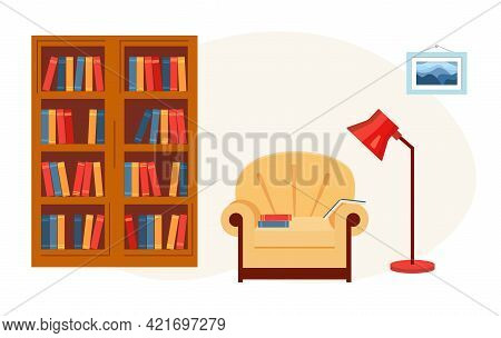 Interior Home Library. Room With Bookcase, Chair And Reading Lamp.