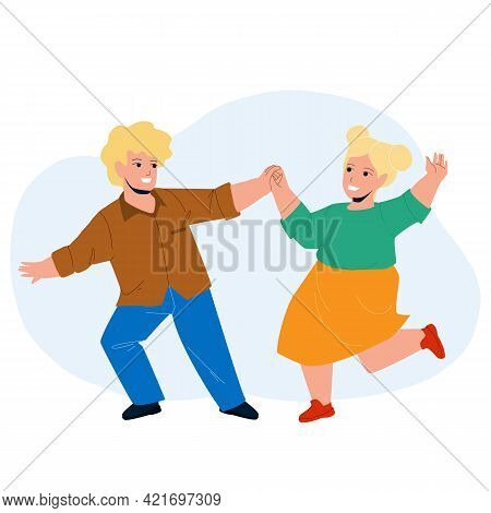 Kids Dancing Together On Children Party Vector. Happy Smiling Boy And Girl Kids Dancing In Dance Sch