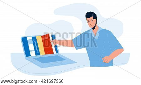 Online Library Service For Reading Book Vector. Young Man Choosing Literature In Online Library. Cha