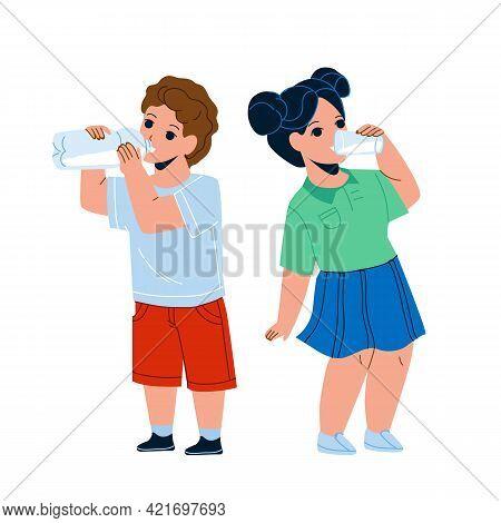Children Drink Milk From Glass And Bottle Vector. Thirsty Children Drink Water Or Dairy Beverage Tog