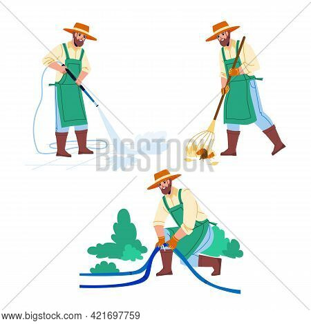 Gardener Man Agricultural Occupation Set Vector. Gardener Removing Foliage, Fixing Hose And Watering
