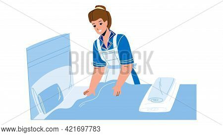 Housekeeper Woman Making Bed In Bedroom Vector. Housekeeper Service Worker Girl Cleaning And Changin