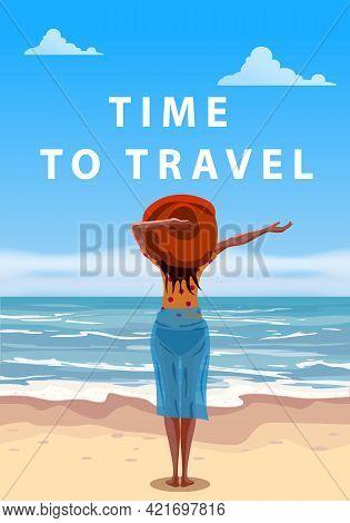 Woman On Seaside Resort In Beachwear Red Hat Enjoing Rest. Time To Travel Vacation, Sea, Ocean. Vect