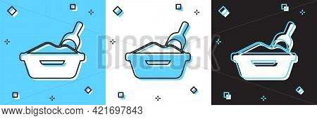 Set Cat Litter Tray With Shovel Icon Isolated On Blue And White, Black Background. Sandbox Cat With