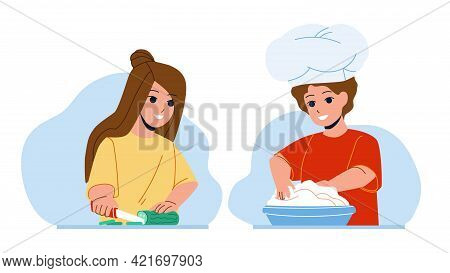Kids Cooking Salad And Dessert Together Vector. Boy Prepare Dough For Baking Pie And Girl Cut Cucumb