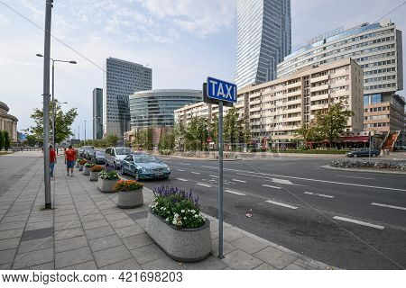 Warsaw. Poland - August 2015: Architecture Of Warsaw Along City Roads. Buildings Along The Roads. Wa