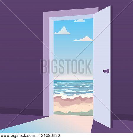 Open Door To Nature Way. Landscape Sea, Ocean, Island, Tropical, Symbol Freedom, New Way Exit, Disco