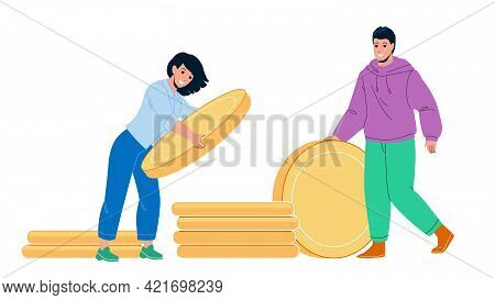 Saving Money For Buy House Young Family Vector. Man And Woman Couple Saving Money For Buying Real Es