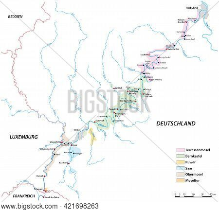 Vector Map Of The Wine Growing Areas On The Moselle River, Germany