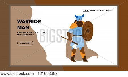 Warrior Man Holding Medieval Axe And Shield Vector. Viking Warrior Man With Ancient Armory Weapon. B