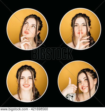 Portrait Collection. Face Collage. Idea Inspiration. Headshot Of Pensive Happy Satisfied Girl Showin