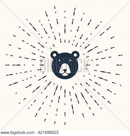 Grey Bear Head Icon Isolated On Beige Background. Abstract Circle Random Dots. Vector