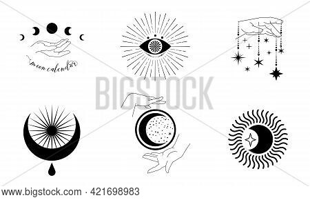 A Set Of Magical And Astrological Symbols. Silhouettes Of Hand Poses. Mystical Signs Of The Moon, Su