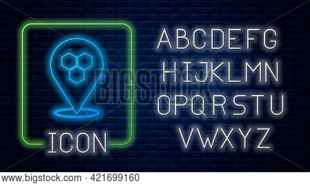 Glowing Neon Honeycomb Bee Location Map Pin Pointer Icon Isolated On Brick Wall Background. Farm Ani
