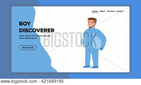 Boy Discoverer Play Game In Space Costume Vector. Astronaut Boy Discoverer Holding Suit Helmet Dream