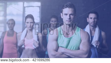 Composition of men and women in fitness class. sport, fitness and active lifestyle concept digitally generated image.