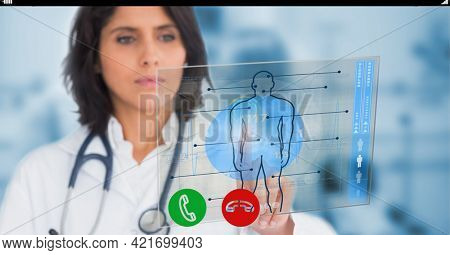 Composition of female doctor holding screen with medical data. global online medicine and technology concept digitally generated image.