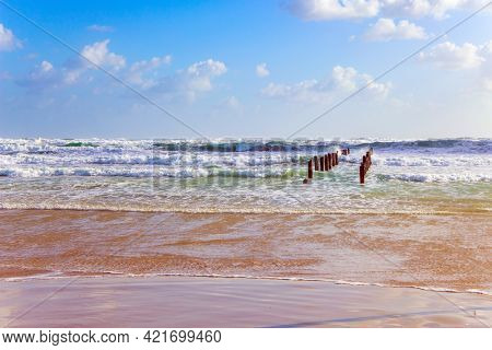 Beach in Tel Aviv. Sunset. Windy sunny day in Israel. Raging storm in the Mediterranean. Powerful winter surf takes off with snow-white foam.