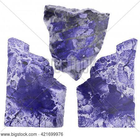three blue jaspers isolated on white background