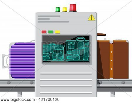 Airport Security Scanner Icon. Conveyor Belt With Passenger Luggage. Baggage Carousel Scan Isolated