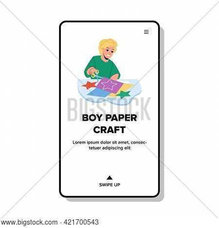 Boy Paper Craft Decoration With Scissors Vector. Little Boy Paper Craft On Creativity Lesson Courses