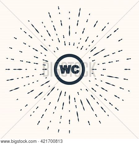 Grey Toilet Icon Isolated On Beige Background. Wc Sign. Washroom. Abstract Circle Random Dots. Vecto