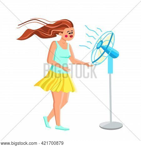 Fan Air Device Cool Enjoying Young Woman Vector. Fan Air Gadget Cooling Enjoy Girl With Floating Hai