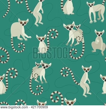 Seamless Pattern With Lemurs. Exotic Cute Animals Of Madagascar And Africa. Vector Illustration In F