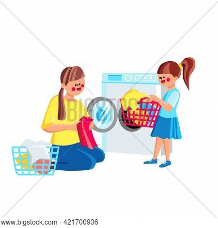 Daughter Girl Helping Mother Doing Laundry Vector. Child Help Mom Sorting And Loading Laundry To Was