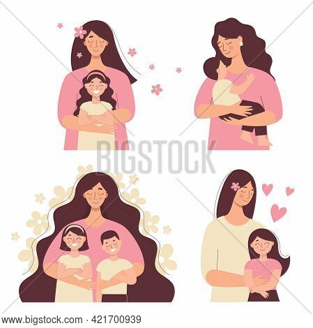 Beautiful Woman Holds A Baby In Her Arms, Mom Hugs Her Children. Mother's Day, Women's Day. Set Of F