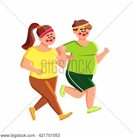 Overweight Man And Woman Jogging Together Vector. Overweight Boy And Girl Running On Street. Charact