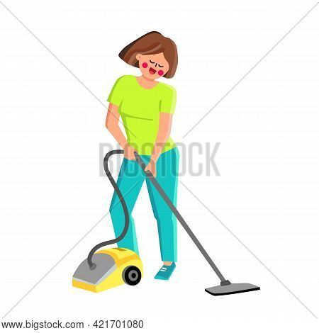 Vacuum Cleaner Using Girl For Cleaning Room Vector. Vacuum Cleaner Equipment Use Young Woman For Cle