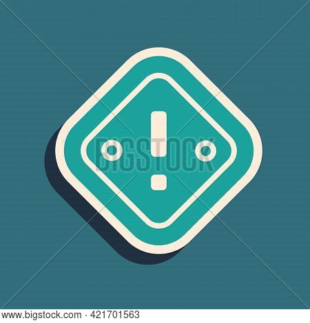 Green Exclamation Mark In Triangle Icon Isolated On Green Background. Hazard Warning Sign, Careful,